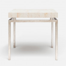 Benjamin Side Table 22 in L x 22 in W x 21 in H Texturized Silver Steel/Shell Kabibe | Gracious Style