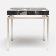 Benjamin Side Table 22 in L x 22 in W x 21 in H Texturized Silver Steel/Petrified Wood Dark Mix | Gracious Style