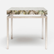 Benjamin Side Table 22 in L x 22 in W x 21 in H Texturized Silver Steel/Shell Silver Mother of Pearl | Gracious Style