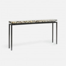 Benjamin Console Flat Black Steel/Shell Silver Mother of Pearl | Gracious Style