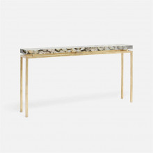 Benjamin Console Texturized Gold Steel/Shell Silver Mother of Pearl | Gracious Style