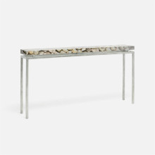 Benjamin Console Texturized Silver Steel/Shell Silver Mother of Pearl | Gracious Style