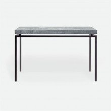 Benjamin Console Flat Black Steel/Realistic Faux Shagreen Cool Gray | Gracious Style