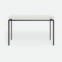 Benjamin Console Flat Black Steel/Realistic Faux Shagreen Ivory | Gracious Style