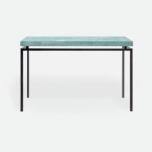 Benjamin Console Flat Black Steel/Realistic Faux Shagreen Turquoise | Gracious Style