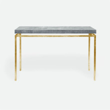 Benjamin Console Texturized Gold Steel/Realistic Faux Shagreen Cool Gray | Gracious Style