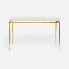 Benjamin Console Texturized Gold Steel/Realistic Faux Shagreen Ivory | Gracious Style