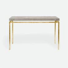 Benjamin Console Texturized Gold Steel/Realistic Faux Shagreen Sand | Gracious Style
