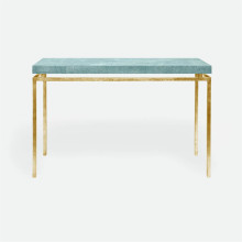 Benjamin Console Texturized Gold Steel/Realistic Faux Shagreen Turquoise | Gracious Style