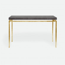Benjamin Console Texturized Gold Steel/Faux Linen Charcoal | Gracious Style
