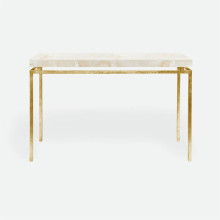 Benjamin Console Texturized Gold Steel/Clamstone Natural | Gracious Style