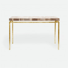 Benjamin Console Texturized Gold Steel/Petrified Wood Light Mix | Gracious Style