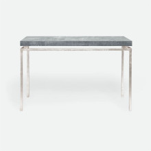 Benjamin Console Texturized Silver Steel/Realistic Faux Shagreen Cool Gray | Gracious Style
