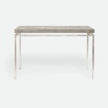 Benjamin Console Texturized Silver Steel/Realistic Faux Shagreen Sand | Gracious Style