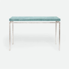 Benjamin Console Texturized Silver Steel/Realistic Faux Shagreen Turquoise | Gracious Style