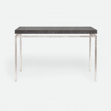 Benjamin Console Texturized Silver Steel/Faux Linen Charcoal | Gracious Style