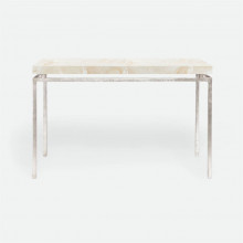 Benjamin Console Texturized Silver Steel/Clamstone Natural | Gracious Style