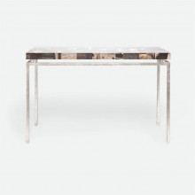 Benjamin Console Texturized Silver Steel/Petrified Wood Dark Mix | Gracious Style