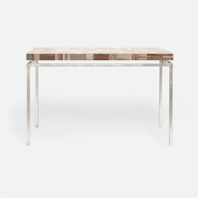 Benjamin Console Texturized Silver Steel/Petrified Wood Light Mix | Gracious Style