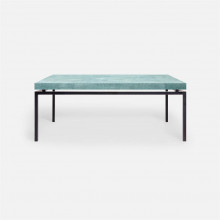 Benjamin Coffee Table 48 in L x 27 in W x 19 in H Flat Black Steel/Realistic Faux Shagreen Turquoise | Gracious Style