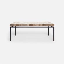Benjamin Coffee Table 48 in L x 27 in W x 19 in H Flat Black Steel/Petrified Wood Light Mix | Gracious Style