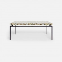 Benjamin Coffee Table Flat Black Steel/Shell Silver Mother of Pearl | Gracious Style