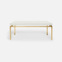 Benjamin Coffee Table Texturized Gold Steel/Realistic Faux Shagreen Ivory | Gracious Style