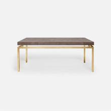 Benjamin Coffee Table Texturized Gold Steel/Realistic Faux Shagreen Dark Mushroom | Gracious Style