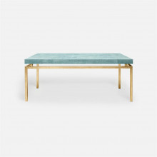 Benjamin Coffee Table 48 in L x 27 in W x 19 in H Texturized Gold Steel/Realistic Faux Shagreen Turquoise | Gracious Style