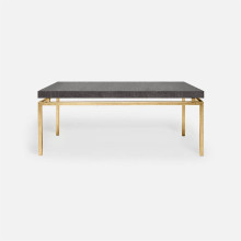 Benjamin Coffee Table Texturized Gold Steel/Faux Linen Charcoal | Gracious Style