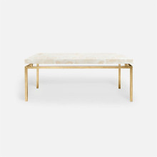 Benjamin Coffee Table Texturized Gold Steel/Clamstone Natural | Gracious Style
