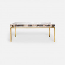 Benjamin Coffee Table 48 in L x 27 in W x 19 in H Texturized Gold Steel/Petrified Wood Dark Mix | Gracious Style