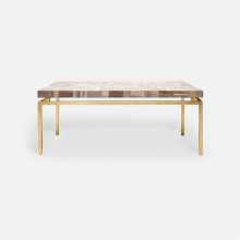Benjamin Coffee Table 48 in L x 27 in W x 19 in H Texturized Gold Steel/Petrified Wood Light Mix | Gracious Style