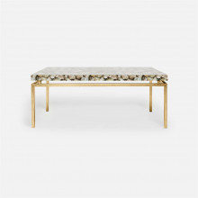 Benjamin Coffee Table Texturized Gold Steel/Shell Silver Mother of Pearl | Gracious Style