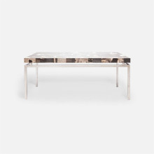 Benjamin Coffee Table 48 in L x 27 in W x 19 in H Texturized Silver Steel/Petrified Wood Dark Mix | Gracious Style