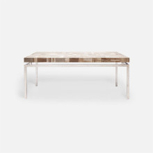 Benjamin Coffee Table 48 in L x 27 in W x 19 in H Texturized Silver Steel/Petrified Wood Light Mix | Gracious Style