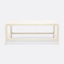 Conrad Coffee Table Off-White 48 in L x 27 in W x 19 in H Faux Raffia | Gracious Style