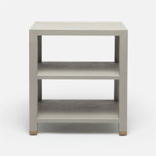 Jarin Side Table Light Gray Faux Belgian Linen | Gracious Style