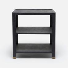 Jarin Side Table Dark Navy Faux Belgian Linen | Gracious Style