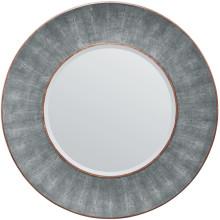 Armond Cool Gray/Walnut Realistic Faux Shagreen/Veneer Round Mirror | Gracious Style