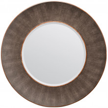 Armond Dark Mushroom/Walnut Realistic Faux Shagreen/Veneer Round Mirror | Gracious Style