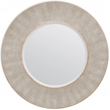Armond Sand/Sycamore Realistic Faux Shagreen/Veneer Round Mirror | Gracious Style