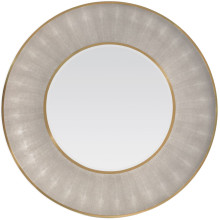 Armond Sand/Brass Realistic Faux Shagreen/Metal Round Mirror | Gracious Style