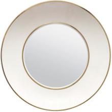 Armond Snow/Brass Realistic Faux Shagreen/Metal Round Mirror | Gracious Style