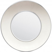 Armond Snow/Silver Realistic Faux Shagreen/Metal Round Mirror | Gracious Style