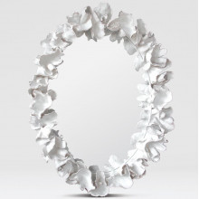 Coco 36 in W x 47 in H White Faux Coral Oval Mirror | Gracious Style