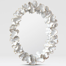 Coco 36 in W x 47 in H Gold With White Faux Coral Oval Mirror | Gracious Style