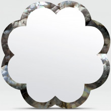 Fiona 38 in D Silver Mother of Pearl Shell Scalloped Mirror | Gracious Style