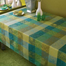 Mille Couleurs Lime Coated Stain-Resistant Damask Table Linens | Gracious Style