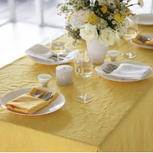 Miami Yellow Stain-Resistant Damask Table Linens | Gracious Style